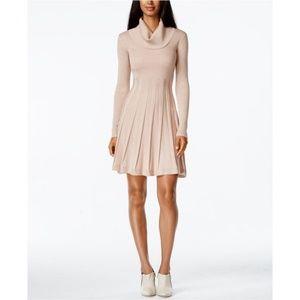 Calvin Klein Cowl-Neck Fit & Flare Sweater Dress L